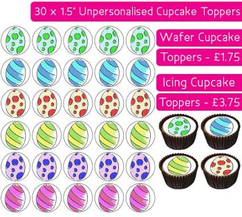 Easter Eggs - 30 Cupcake Toppers