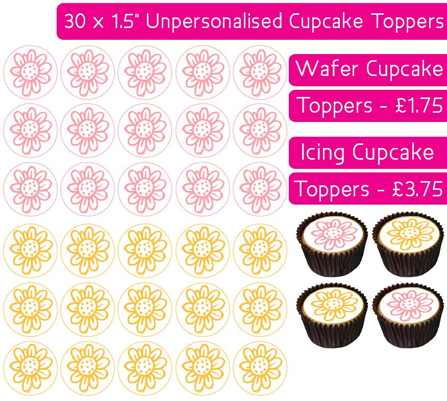 Easter Flowers - 30 Cupcake Toppers