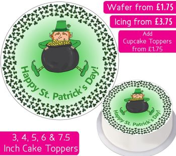 St Patrick's Day Leprechaun Personalised Cake Topper