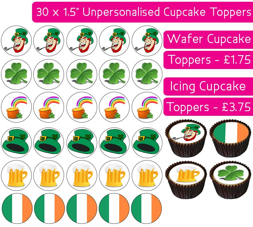 St Patrick's Day - 30 Cupcake Toppers