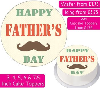 Father's Day Mustache Personalised Cake Topper