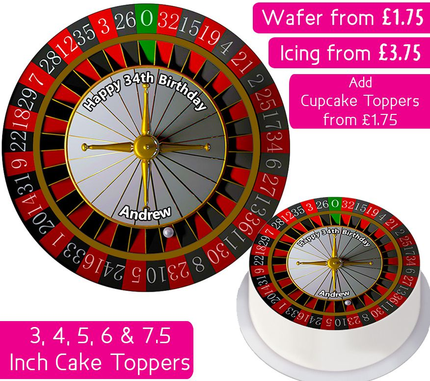 Roulette Wheel Personalised Cake Topper