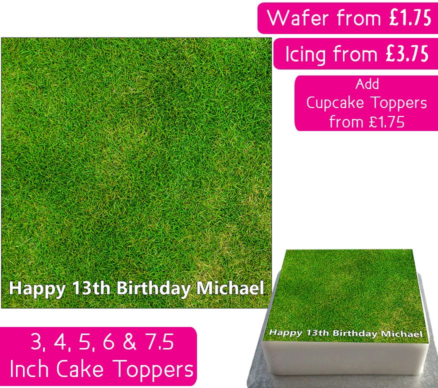 Grass Square Personalised Cake Topper