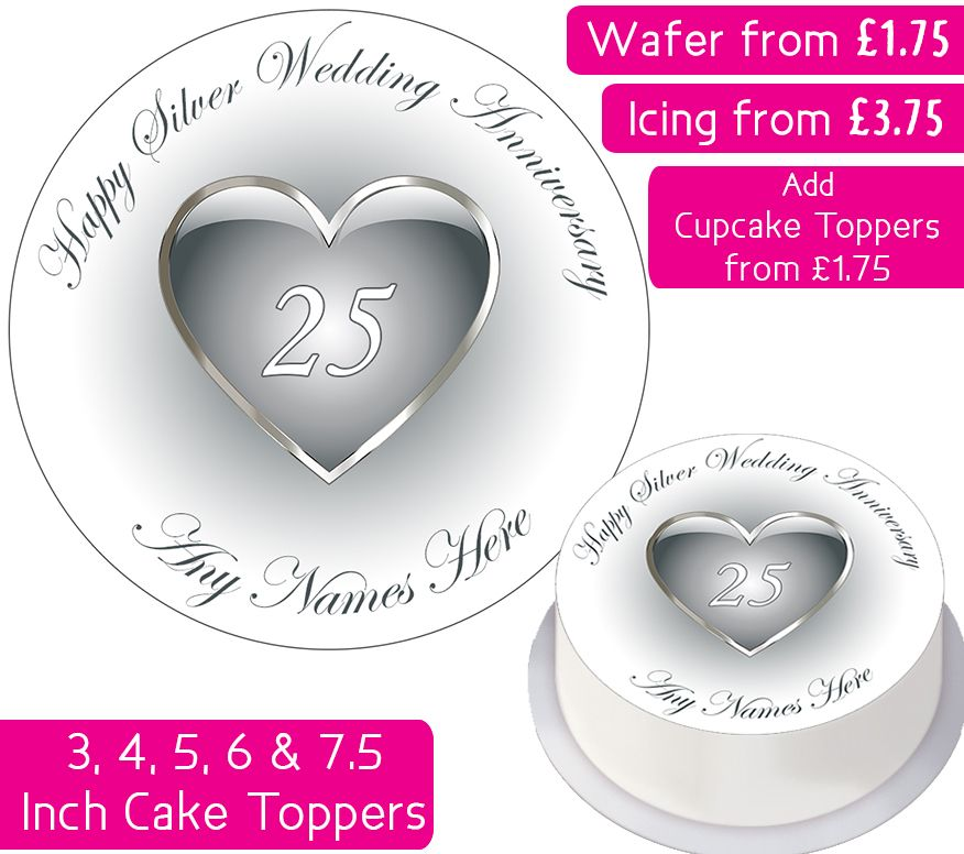 Wedding Anniversary - Silver - Personalised Cake Topper