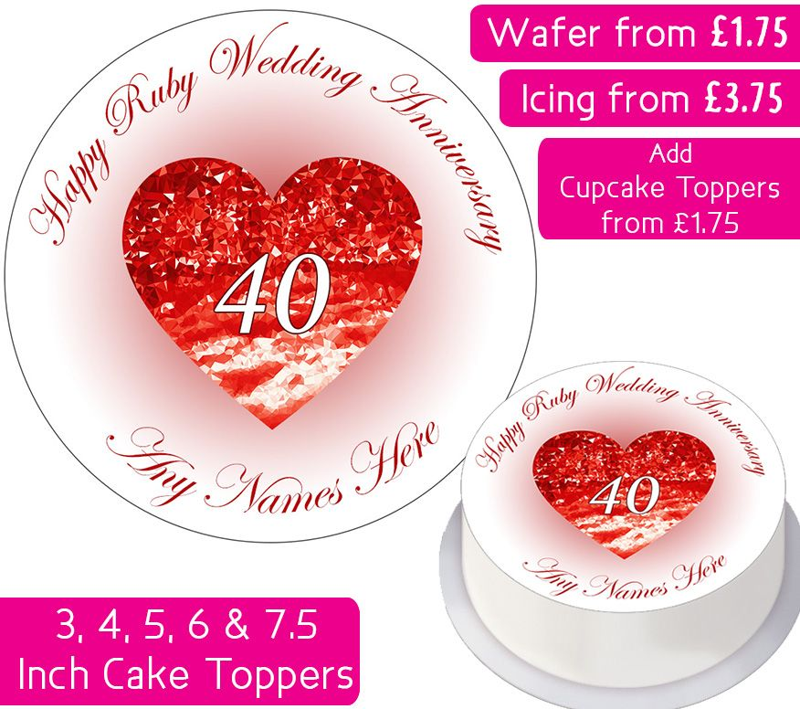 Wedding Anniversary - Ruby - Personalised Cake Topper