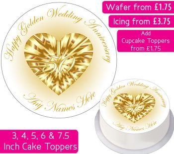 Wedding Anniversary - Gold / Golden - Personalised Cake Topper