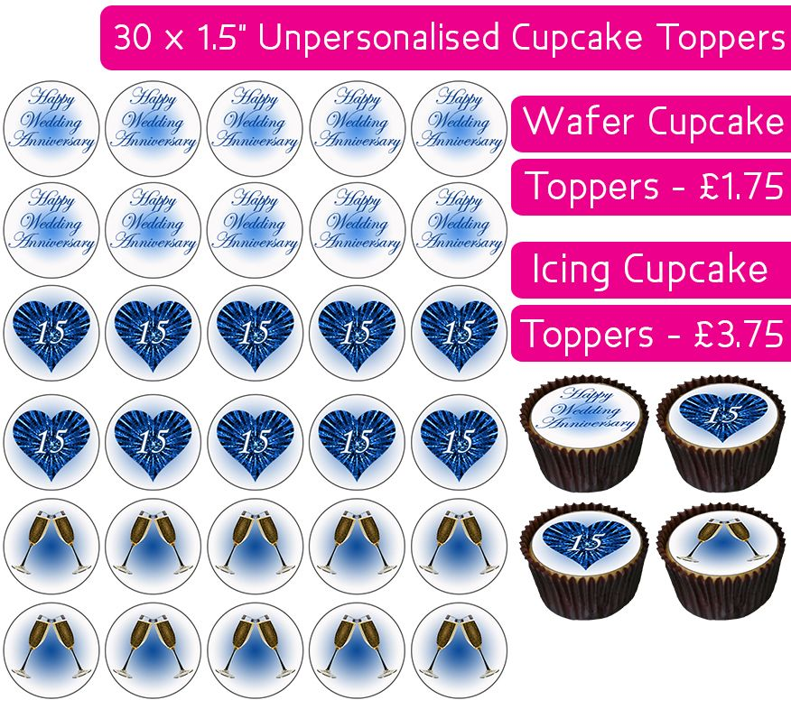 Wedding Anniversary - Crystal - 30 Cupcake Toppers