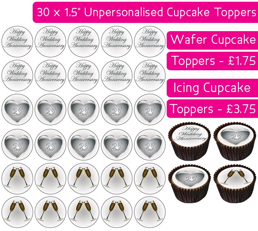 Wedding Anniversary - Silver - 30 Cupcake Toppers