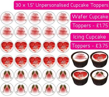 Wedding Anniversary - Ruby - 30 Cupcake Toppers