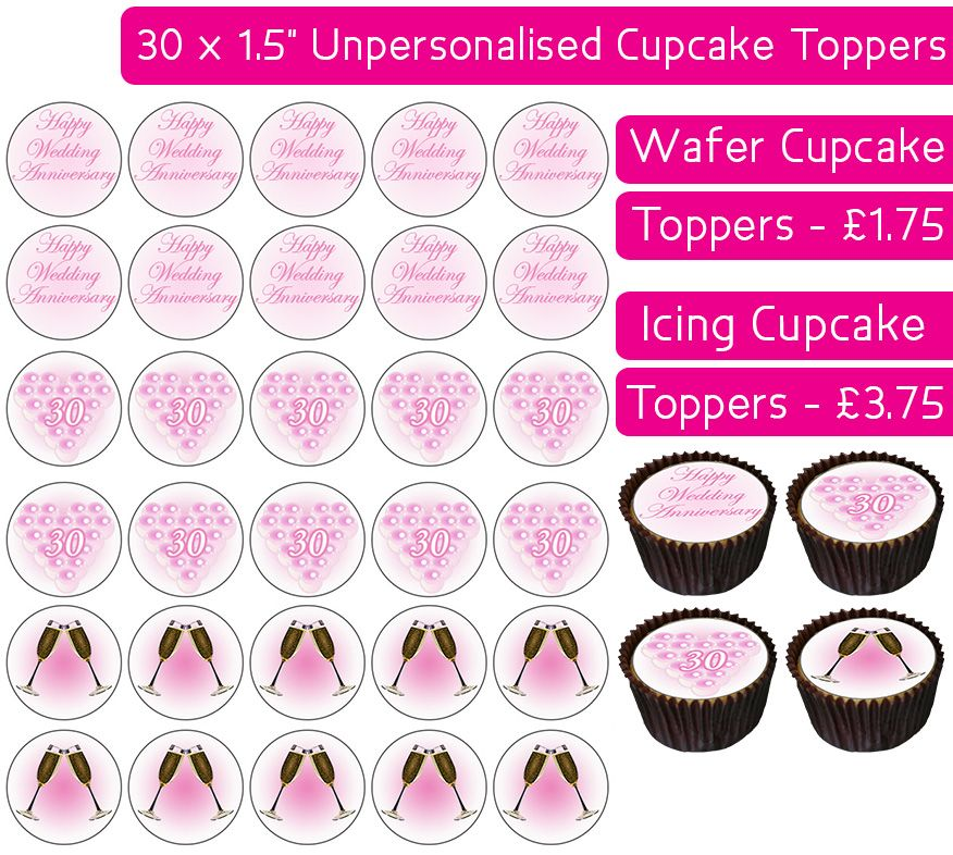 Wedding Anniversary - Pearl - 30 Cupcake Toppers