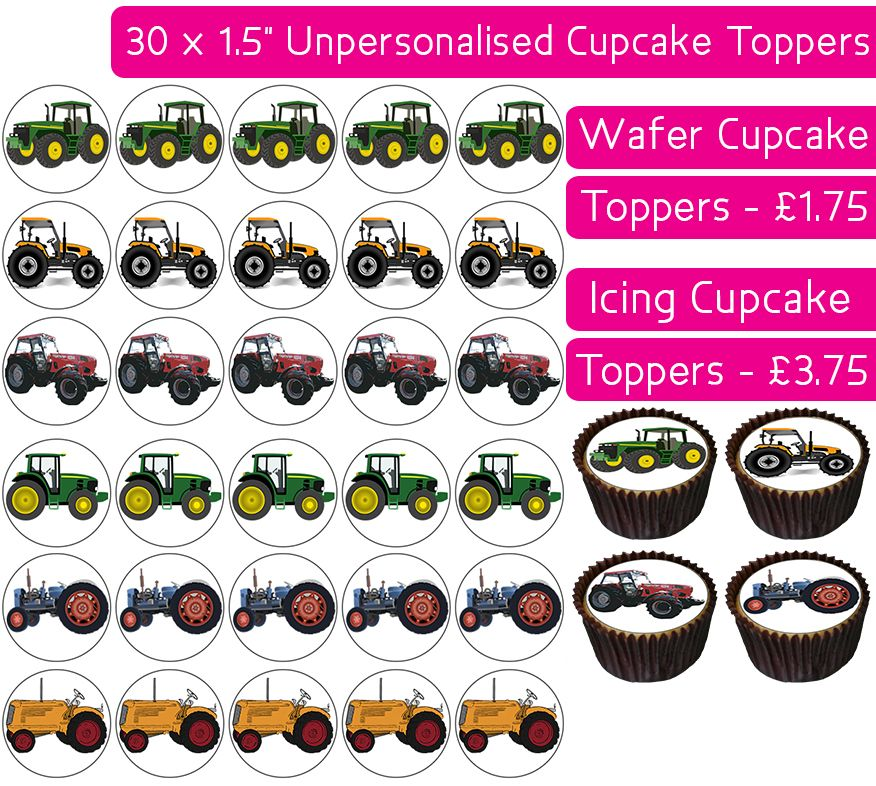 Tractors - 30 Cupcake Toppers