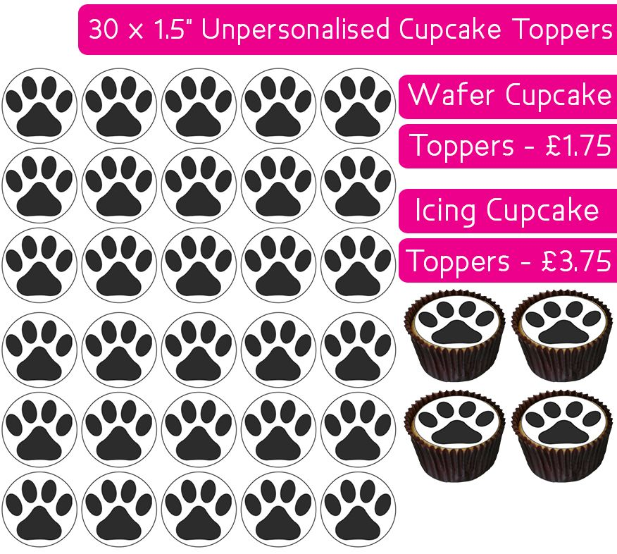 Paw Prints - 30 Cupcake Toppers