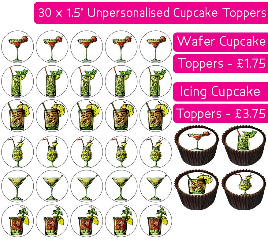 Cocktails - 30 Cupcake Toppers