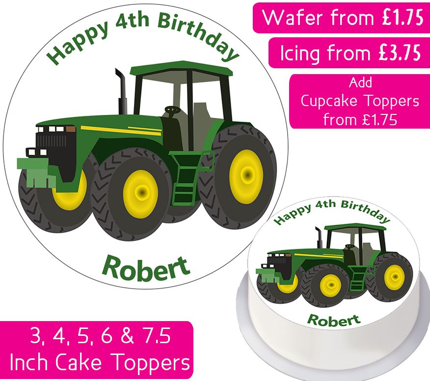Tractor Personalised Cake Topper