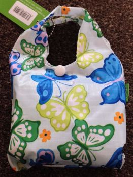 FOLD AWAY ECO SHOPPER PALE BLUE BUTTERFLY DESIGN