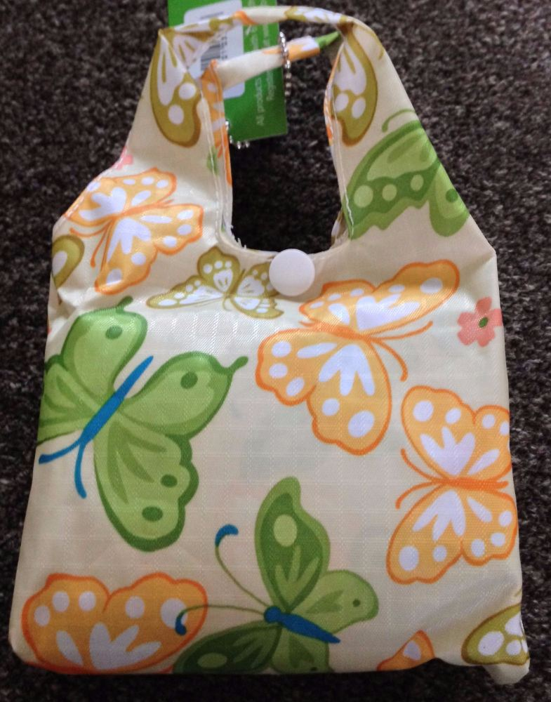 FOLD AWAY ECO SHOPPER PALE GREEN BUTTERFLY DESIGN