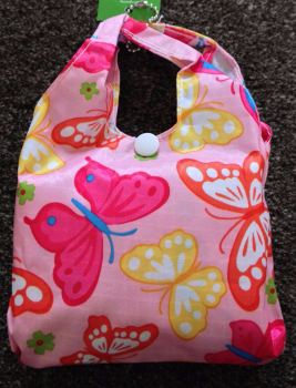 FOLD AWAY ECO SHOPPER PINK BUTTERFLY DESIGN