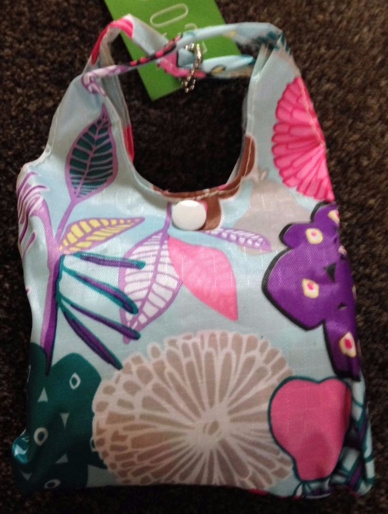 FOLD AWAY ECO SHOPPER PALE BLUE ABSTRACT FLOWER DESIGN