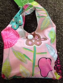 FOLD AWAY ECO SHOPPER PINK ABSTRACT FLOWER DESIGN