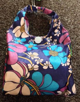 FOLD AWAY ECO SHOPPER NAVY BOLD FLOWER DESIGN