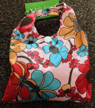 FOLD AWAY ECO SHOPPER PINK BOLD FLOWER DESIGN