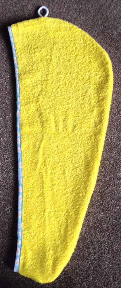 TURBIE TOWEL HAIR WRAP YELLOW WITH A PALE BLUE & WHITE DAISY PRINT EDGING