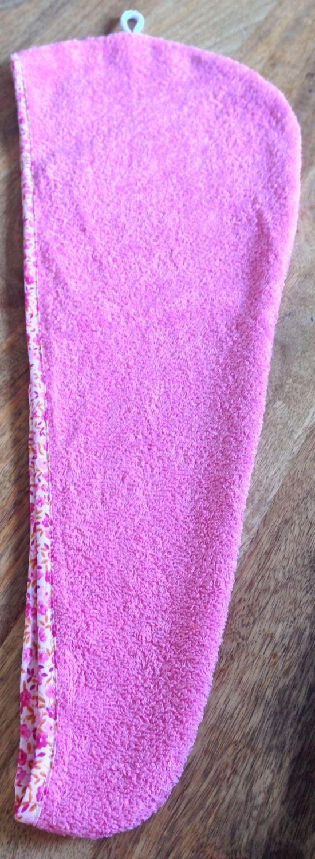 TURBIE TOWEL HAIR WRAP PINK WITH AN ORANGE & PINK FLORAL PRINT EDGING