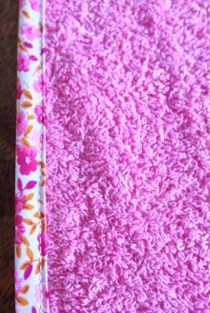 pink with orange & pink floral edge close up