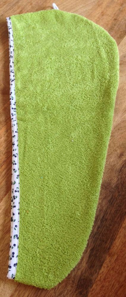 TURBIE TOWEL HAIR WRAP LIME GREEN WITH A WHITE & NAVY CHERRY DESIGN EDGING