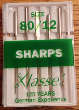 KLASSE SEWING MACHINE NEEDLES - SHARPS 80/12