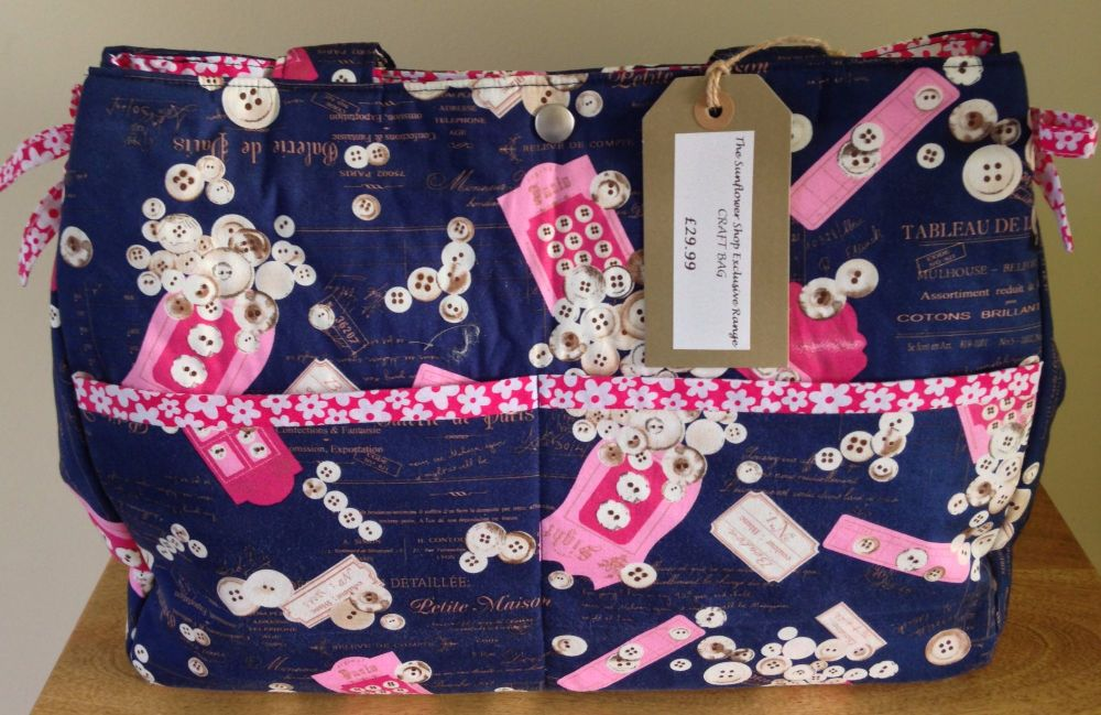 CRAFT KNITTING BAG 'PINK BUTTONS' DESIGN