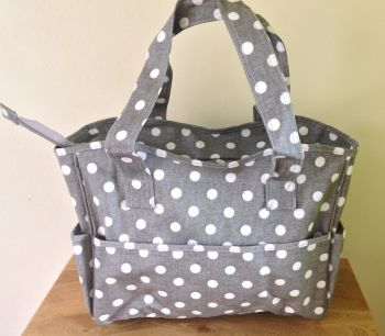 grey linen craft bag