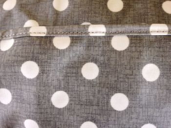 grey linen craft bag close up