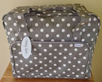 SEWING MACHINE CARRY BAG Grey Linen Spot Design