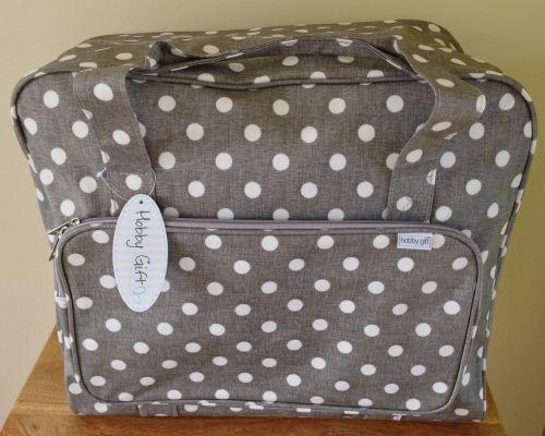 SEWING MACHINE CARRY BAG Grey Linen Spot Design