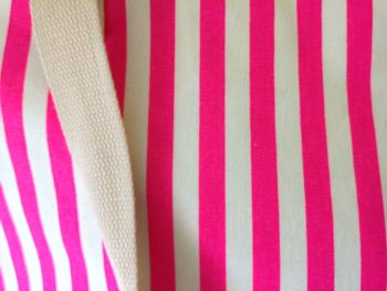 PINK STRIPE TOTE CLOSE UP