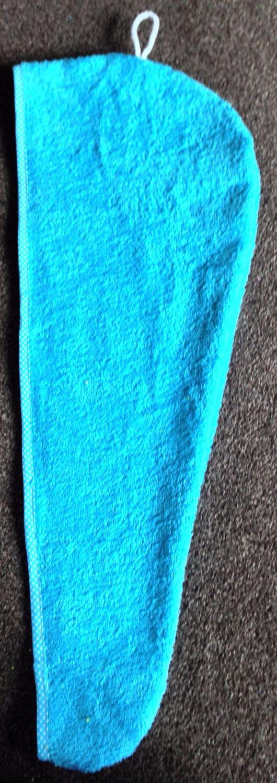 TURBIE TOWEL HAIR WRAP AQUA BLUE WITH A BLUE & WHITE SPOT EDGING