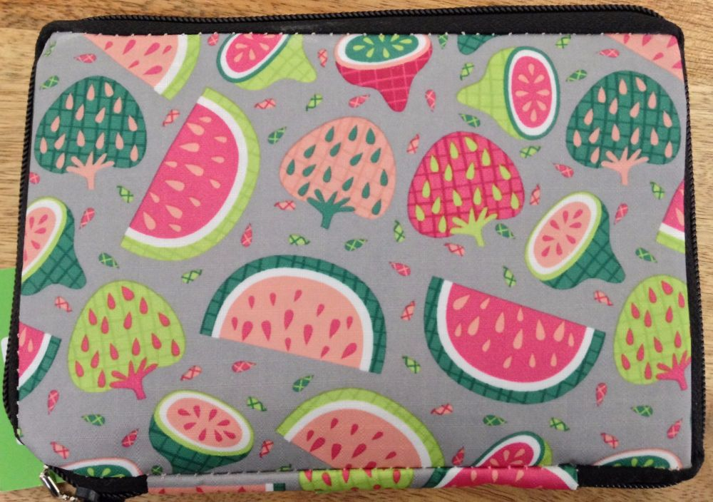 FOLDABLE DRAWSTRING SLING BAG 'SUMMER FRUITS' DESIGN GREY LARGE