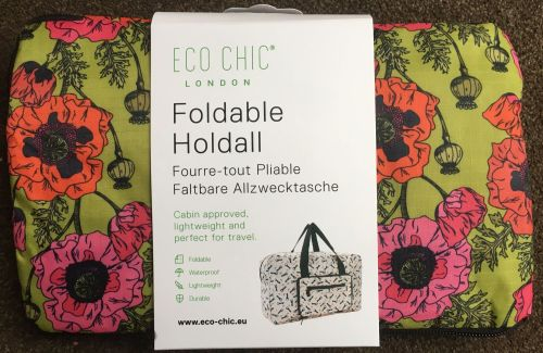 FOLDABLE HOLDALL 'POPPY' DESIGN LIME