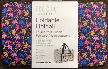 FOLDABLE HOLDALL 'DITSY FLORAL' DESIGN PURPLE