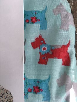 FLORAL SCOTTIE DOGS BLUE CLOSE UP