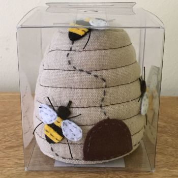 BEE HIVE PIN CUSHION IN PERSPEX BOX