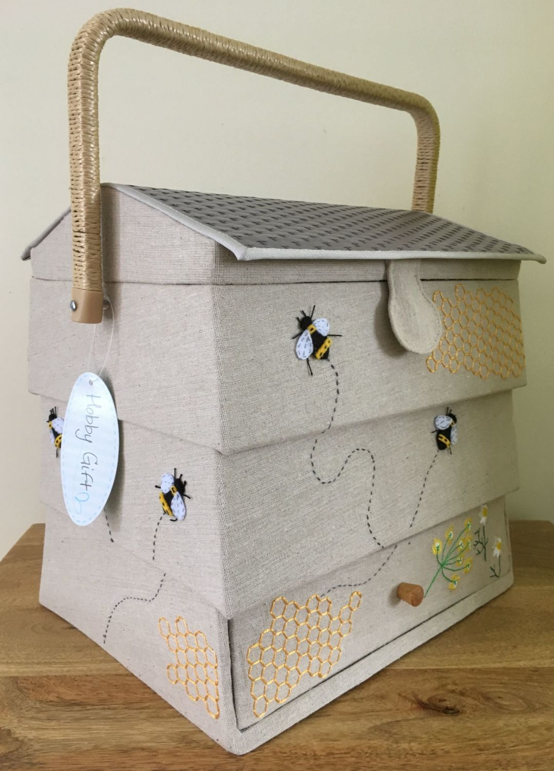 LARGE SEWING BASKET 'BEE HIVE' DESIGN