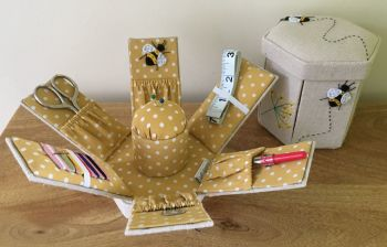 SEWING KIT CASE IN THE 'BEEHIVE' DESIGN