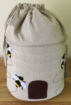 DRAWSTRING KNITTING & CROCHET BAG 'BEE' DESIGN
