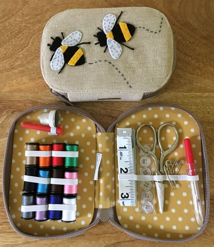 ZIP CASE SEWING KIT IN THE 'BEEHIVE' DESIGN