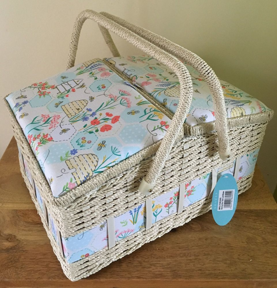 LARGE SEWING BASKET 'BLOSSOM' DESIGN TWIN LID
