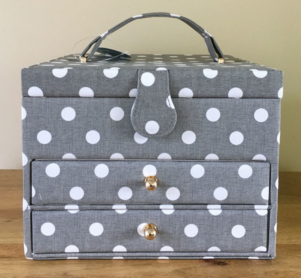 LARGE SEWING BASKET 'GREY LINEN' POLKA DOT DESIGN