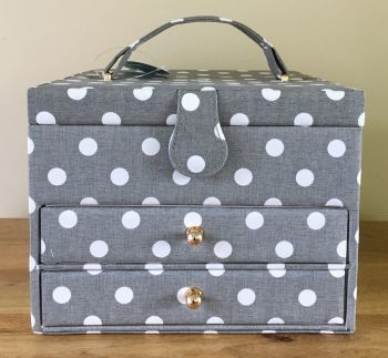 LARGE SEWING BASKET 'GREY SPOT' DESIGN WITH DRAWERS