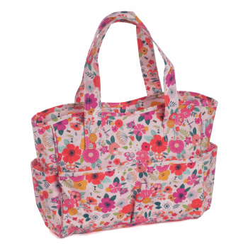 CRAFT BAG PVC 'FLORAL GARDEN PINK' DESIGN